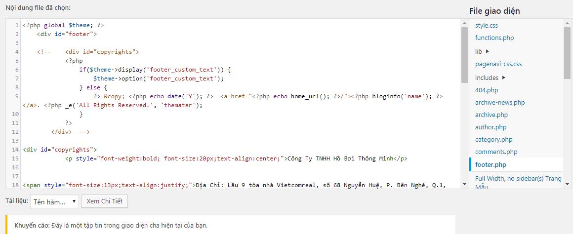 Hướng dẫn sửa thông tin dưới chân website bằng source code
